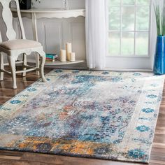 nuLOOM Vintage Vibrant Persian Floral Multi Rug x - 17841996 - Overstock - Great Deals on Nuloom - Rugs - Mobile Living Room Modern, Rugs In Living Room, Living Room Decor, Floral Area Rugs, Blue Area Rugs, Floral Rug, Old Room, Contemporary Area Rugs, Contemporary Design