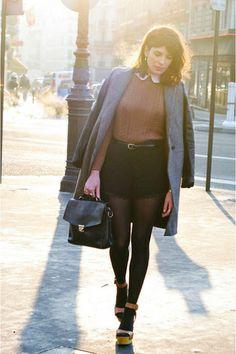 bronze Zara jumper - gray Zara coat - black Queens Wardrobe shorts