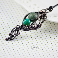 Green stone necklace agate wire wrapped bohemian jewelry