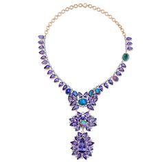 Irene Neuwirth | Jewelry. ONE OF A KIND NECKLACE WITH TANZANITE, LIGHTNING RIDGE OPALS, ROSE CUT DIAMONDS AND DIAMOND PAVE