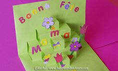 carte pop up fête des mères découpage collage - Best Ideas Pop Up, French Crafts, Arts And Crafts, Paper Crafts, Presents For Kids, Kirigami, Mother And Father, Trees To Plant, Quilling