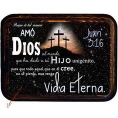Cuadro rectangular horizontal de madera, Juan 3:16