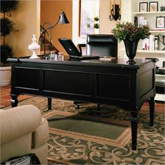 Stanley Furniture Portofino Decorative Wood Executive Home Office Writing  Desk In Basque Black