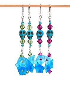 Sugar Skull Earrings, Glass Flowers, Aqua Colored, Day of the Dead, Boho Chic, Festival Style, Swarovski Crystals, Summer Colors
