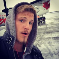 Just landed in sault st Marie all I see is snow and ice and Its awesome. Time to get back to work @belstaff thank you for the warm jacket!