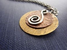 Round Pendant Necklace Mixed Metal Hammered Brass Copper Sterling Silver Spiral on Etsy, $34.00