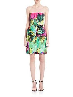 MILLY Strapless Watercolor Dress - Emerald - Size
