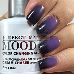 I have a few more color changing Mood gel polishes from LeChat Perfect Match today. Mood polishes are always a lot of fun to wear since the colors are always changing based on temperature, and the… Mood Gel Polish, Mood Changing Nail Polish, Perfect Match Gel Polish, Berry Nails, Tiger Nails, Purple Nail Art, Colorful Nail Designs, Nail Polish Designs, Fancy Nails