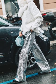 shine: _Novembre wears metallic leather Loewe Coco trousers in Milan