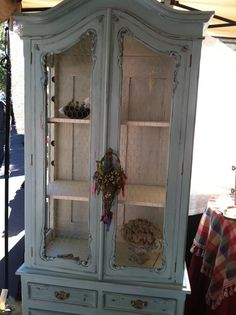French Curio Cabinet/Armoire with Chicken Wire doors Furniture Makeover, Diy Furniture, Hutch Makeover, Furniture Refinishing, Distressed Furniture, Painted Furniture, Chandeliers, Vintage China Cabinets, Chicken Wire