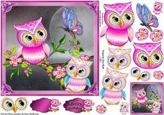 Pink Twilight Owls on Craftsuprint designed by Karen Wyeth - A gorgeous owls quick card with additional decopuage items, a matching smaller gift tag topper and 2 sentiment panels - one is blank, the other reads: Happy Birthday. xk - Now available for download!