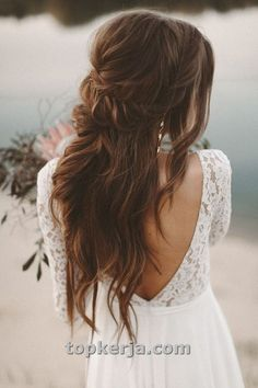 boho wedding hair Flowing Bridal Gown Long Lace Sleeves Back Cutout Boho Wedding Dress Vintage, Wedding Hairstyles Half Up Half Down, Bohemian Hairstyles, Wedding Hairstyles For Long Hair, Vintage Hairstyles, Boho Wedding Hair, Wedding Hair And Makeup, Wedding Beauty, Bridal Beauty, Trendy Wedding