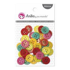 #Botones de plástico redondos. 50 botones de colores divertidos y muy versátiles a la hora de decorar en #scrapbooking. 10 uds por color. Tamaño: 1,5 cm. Los puedes pegar o coser a tus trabajos.