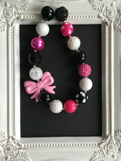 Black, pink and bubblegum necklace by LilchicboutiqueLIC on Etsy