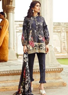 Cross Stitch black kurti new eid dress designs for girls in Pakistan 2017 Eid Dresses For Girl, Party Dresses For Women, Casual Dresses For Women, Clothes For Women, Pakistani Dresses Online, Pakistani Dresses Casual, Pakistani Bridal Dresses, New Eid Dress, Pakistani Couture