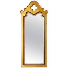 Mid-Century Modern Tall Gold and Painted Black Mirror with Quatrefoil Crown | See more antique and modern Wall Mirrors at https://www.1stdibs.com/furniture/mirrors/wall-mirrors