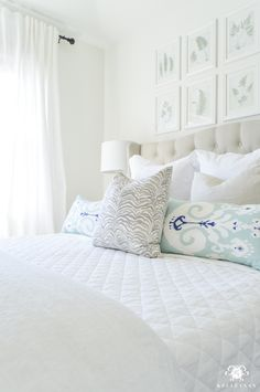 Decked and Styled Spring Home Tour - Kelley Nan- guest bedroom with white quilt and bedding Beach House Bedroom, Home Bedroom, Bedroom Furniture, Bedroom Decor, Bedroom Ideas, Master Bedroom Design, Spring Home, Guest Bedrooms, Home Hacks