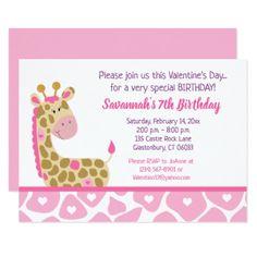 Pink Giraffe Valentines Day Birthday Invitation - invitations custom unique diy personalize occasions