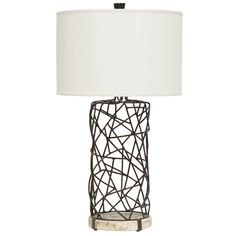 "Seaside elegance meets modern industrial to form the Atherton table lamp by Jeffrey Alan Marks. This accent showcases an abstract wrought iron form atop a fossilized clam base. Beige silk round drum shade; Accepts one 150W; 3-way turn key on/off switch; 10.25""Dia x 34.25""H; Shade: 20""Dia x 13""H; Cord: 6.5'L"