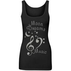 MoonDreamsMusicRhinstones | Cool and Chic Black Longer Length Junior Fit Tank Top Featuring MoonDreams Music Rhinestones Design