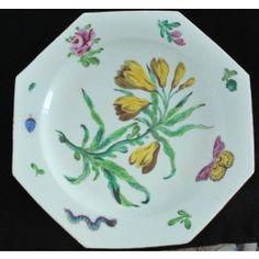 Botanical Plate. Bow Porcelain Factory C1755