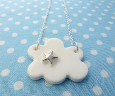 Cloud with star porcelain and sterling silver by delphineandmax