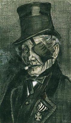 Vincent van Gogh ,  … Eye Bandage drawings  Dutch  1853-1890  Rijksmuseum Kröller-Müller, Otterlo, Netherlands    -  Orphan Man in Sunday Clothes with Eye Bandage, 1882   Pencil,wash,chalk