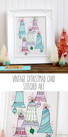 Vintage Christmas Card Inspired Stitched Artwork by @bevrmccullough | DIY Christmas Decorations