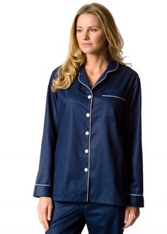 53c11c5a19d Classic piped pyjamas in navy blue cotton sateen by PJ Pan Cotton Nightwear