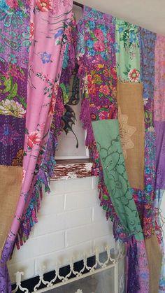 Boho Curtains Shabby Chic Curtains Burlap Curtains