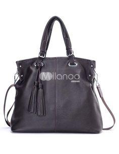Black Tassel Zipper Closure Cowhide Womans Tote Bag. See More Tote Bags at http://www.ourgreatshop.com/Tote-Bags-C775.aspx