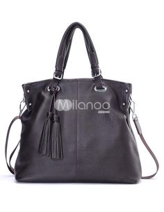 Black Tassel Zipper Closure Cowhide Womans Tote Bag. See More Tote Bags at http://www.ourgreatshop.com/Tote-Bags-C775.aspx