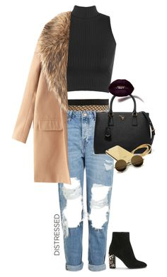 """""""Distressed with Black & Gold"""" by cocolenaa ❤ liked on Polyvore featuring Topshop, WearAll, Prada, Goldgenie, gold, black and distressed"""