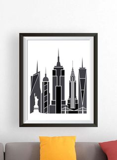 New York City Wall Art new york skyline print, gold, poster, wall art, new york, city