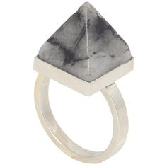 Kelly Wearstler Kazan Ring - With Rutilated Quartz Pyramid ($75) ❤ liked on Polyvore featuring jewelry, rings, accessories, fillers, handcrafted jewelry, stackers jewelry, 18 karat white gold ring, rutilated quartz jewelry and 18k jewelry