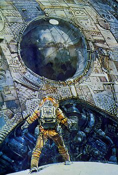 Astronaut spacesuit concept art for Ridley Scott's Alien, scanned from Fantastic Films Blake Publishing Corp. in 1979