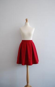 Poppy - red skirt / a line / knee length / skirt with pockets / red pleated skirt / wool skirt