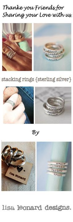 Hand-molded and cast in sterling silver, these rings have a beautiful organic shape and feel. Each ring has a hammered texture. Customize your ring with a special name or short phrase and stack them up for an up-to-date look!