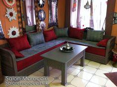 Salon marocain 2017 Noir et rouge design moderne - Salons Marocains ...