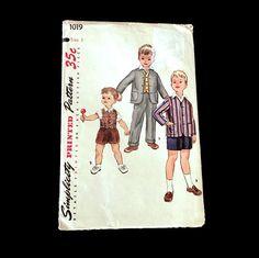 Vintage 1940's Sewing Pattern Simplicity Boys Jacket Vest