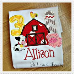 Birthday Farm Shirt- Farm animals- Applique shirt- Boy or girl on Etsy, $20.00