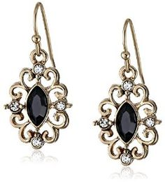 Gold-Tone Crystal Navette Drop Earrings from 1928 Jewelry Available at joyfulcrown.com