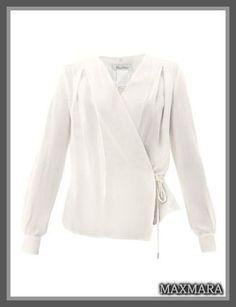 セレブ多数愛用★MaxMara(マックスマーラ)★Rete blouse 爽やかなホワイトカラー、とってもエレガンスなラッププリーツフロントと上品に広がったバルーン袖が、ワンランク上のスタイルをメイク♪