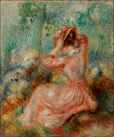 Woman Arranging Her Hat: 1890 by Pierre Auguste Renoir (High Museum of Art, Atlanta, GA) - Impressionism Pierre Auguste Renoir, High Museum, Art Museum, Huntsville Museum Of Art, August Renoir, Renoir Paintings, Impressionist Paintings, Claude Monet, French Artists