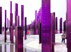 penda's soundwave pierces the myrtle tree garden in china with 500 steel fins