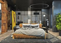 Dramatic interior of a charismatic bachelor on Behance Clever Design, Cozy House, Master Bedroom, Sweet Home, House Design, Interior Design, Architecture, House Styles, Outdoor Decor