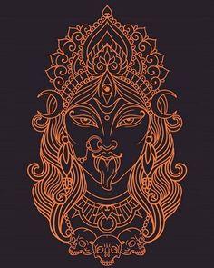 Kali Tattoo, Shiva Tattoo Design, Hindu Tattoos, God Tattoos, Kali Ma, Kali Hindu, Hindu Art, Mother Kali, Art Deco Tattoo