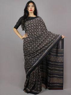 Black Blue Maroon Mughal Nakashi Ajrakh Hand Block Printed in Natural Vegetable Colors Cotton Mul Saree - S031701270