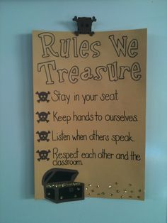 Beach Theme for my classroom. Rules We Treasure. Works for a Pirate Theme too.