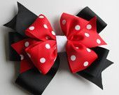 Items similar to Minnie Mouse Bow / Red, White, and Black Polka Dot Hair Bow / minnie mouse bow / disney hair clip / baby hair bows / small disney clips on Etsy